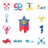 Set of superstar, badminton club, air mail, silent, savage, all in one, culture hazardous waste, seaman icons. Set Of 13 simple editable icons such as superstar Stock Photos