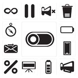 Set of Switch, Megaphone, Battery, Television, Percent, Smartpho. Set Of 13 simple editable icons such as Switch, Megaphone, Battery, Television, Percent vector illustration