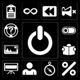 Set of Switch, Percent, Compass, User, Television, Reading, Pict. Set Of 13 simple editable icons such as Switch, Percent, Compass, User, Television, Reading vector illustration