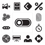 Set of Switch, Skip, User, Television, Radar, Compass, More, Fin. Set Of 13 simple editable icons such as Switch, Skip, User, Television, Radar, Compass, More vector illustration