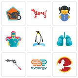 Set Of 9 simple editable icons such as, synergy, mascara. Set Of 9 simple editable icons such as synergy, mascara, lungs, penguin, surgeon, doll, year of the dog Royalty Free Stock Image