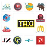 Set of taksi, no parking, fishing team, qf, jz, banque, hair dresser, 2 years warranty, medicare icons. Set Of 13 simple editable icons such as taksi, no parking Royalty Free Stock Images