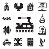 Set of Tank, Robot, Audio file, Drone, Car, Tree, Jetpack, Hologram, Hoverboard icons. Set Of 13 simple editable icons such as Tank, Robot, Audio file, Drone Royalty Free Stock Photography
