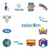 Set of telecom, democratic party, 100 guarantee, zipper, pisces, bird nest, f, upward, badminton icons. Set Of 13 simple editable icons such as telecom Royalty Free Stock Photo