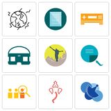 Set Of 9 simple editable icons such as telecom, ganesh, advisor. Page turn, hiker, vr headset, set top box, specification, earthquake, can be used for mobile Royalty Free Stock Photo