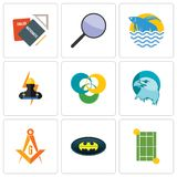 Set Of 9 simple editable icons such as tennis court, bat, masonic. Eagle head, triskelion, electrician, betta fish, focus group, homework, can be used for Royalty Free Stock Photos