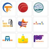 Set Of 9 simple editable icons such as 100th anniversary, royal, h house. Ping pong, us map, under construction, offroad, cricket ball, traders, can be used Stock Image