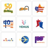 Set Of 9 simple editable icons such as 100th anniversary, sagittarius, ping pong. Debate, venus, 40th birthday, us map, train, 50th can be used for mobile, web Stock Photo