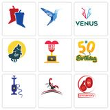 Set Of 9 simple editable icons such as 60th anniversary, scorpion, shisha. 50th birthday, best howling wolf, venus, colibri, debate, can be used for mobile Royalty Free Stock Photos