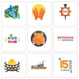 Set Of 9 simple editable icons such as 15th anniversary, scorpions, bird nest. Veterans day, bengal tiger, kids club, spare parts, prayer hands, football, can Stock Image