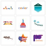 Set Of 9 simple editable icons such as 100th anniversary, us map, rat. Upward, 1st birthday, bowling team, garage door, caviar, ping pong, can be used for Stock Photography