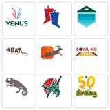 Set Of 9 simple editable icons such as 50th birthday, judo, chameleon. Bowling team, antelope, rat, garage door, debate, venus, can be used for mobile, web Stock Photos