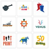 Set Of 9 simple editable icons such as 50th birthday, mustang mascot, boot print. Venus, spare parts, scorpions, debate, kids club, cannon, can be used for Royalty Free Stock Photo