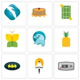 Set Of 9 simple editable icons such as thermostat, sikh, bat. Pinapple, eagle head, buterfly, tennis court, pancake, albatross, can be used for mobile, web Stock Photos