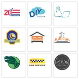 Set Of 9 simple editable icons such as tiara, cab service, dino. Judicial, lodging, volleyball tournament, secretary, diy, 20 anniversary, can be used for Stock Photography