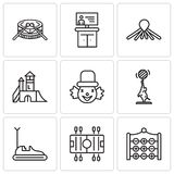 Set Of 9 simple editable icons such as Tic tac toe, Soccer, Bumper car, Elephant, Clown, Playground, Balloon dog, Tv. Drums, can be used for mobile, web UI Royalty Free Stock Photo