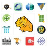 Set of tiger, generic, output, hoopoe, established, khanda, water filter, tennis court, extend icons. Set Of 13 simple editable icons such as tiger, generic Royalty Free Stock Photo