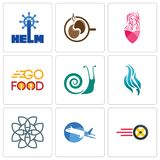 Set Of 9 simple editable icons such as tire business, aeroplane, celtic knot. Flame, snails, go food, salon, coffe, helm, can be used for mobile, web Stock Photography
