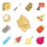 Set of Toast, Pomegranate, Onion, Ice cream, Water, Jam, Cookies. Set Of 13 simple editable icons such as Toast, Pomegranate, Onion, Ice cream, Water, Jam Royalty Free Illustration