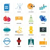 Set of set top box, cell tower, live support, fire hydrant, 360 degree, next steps, christmas bulb, book now icons. Set Of 16 simple editable icons such as set Royalty Free Stock Photography