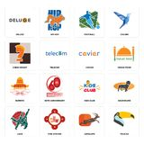 Set of toucan, antelope, judo, kids club, burrito, caviar, chess knight, football, deluxe icons. Set Of 16 simple editable icons such as toucan, antelope, fire Stock Photography