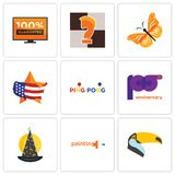 Set Of 9 simple editable icons such as toucan, painting company, wizard hat. 100th anniversary, ping pong, us map, monarch butterfly, chess knight, 100 Stock Image