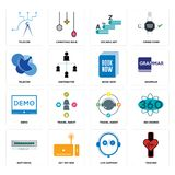 Set of tracker, live support, buffering, travel agent, demo, book now, telecom, vocabulary, telecom icons. Set Of 16 simple editable icons such as tracker, live Royalty Free Stock Image