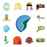 Set of trading co, taksi, kart, psi, thistle, mms, neurosurgery, kids channel, krishna icons. Set Of 13 simple editable icons such as trading co, taksi, kart Stock Image