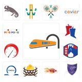 Set of train, viper, hot rod, bird nest, omega, democratic party, tachometer, debate, ping pong icons. Set Of 13 simple editable icons such as train, viper, hot Royalty Free Stock Photography