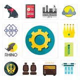 Set of transparent gear, water filter, heater, car seat, khanda, zipper, rhino, crown, generic icons. Set Of 13 simple editable icons such as transparent gear Royalty Free Stock Photo