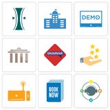 Set Of 9 simple editable icons such as travel agent, book now, set top box. Customer experience, grammar, municipality, demo, municipal, elastic, can be used Royalty Free Stock Photography