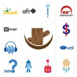 Set of tree stump, dream catcher, retropie, shark mascot, who, oval, audio visual, us dollar, xray icons. Set Of 13 simple editable icons such as tree stump Royalty Free Stock Photography