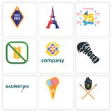 Set Of 9 simple editable icons such as tribe, icecream, badminton. Shoe print, free, gluten celebrating 25 years, eiffel tower, , can be used for mobile, web Stock Photo