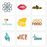 Set Of 9 simple editable icons such as turbine, dice, flame. Go food, chick, lollipop, fight club, lips, celtic knot, can be used for mobile, web Royalty Free Stock Photos