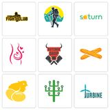 Set Of 9 simple editable icons such as turbine, digital tree, chick. Baguette, butcher shop, pregnancy, saturn, trekking, fight club, can be used for mobile Royalty Free Stock Image
