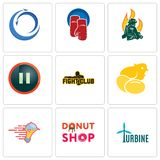 Set Of 9 simple editable icons such as turbine, donut shop, catering services. Chick, fight club, pause, firemen, boxing gloves, import export, can be used for Royalty Free Stock Photography
