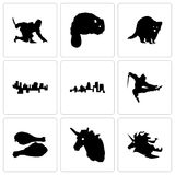 Set Of 9 simple editable icons such as unicorn head, turkey leg. Ninja, kentucky state, haiti, raccoon, beaver, can be used for mobile, web Royalty Free Stock Image