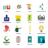 Set of upgrade, notification, bismillah, spine, , zipper, personal development, hoopoe, good bad icons. Set Of 16 simple editable icons such as upgrade Royalty Free Stock Images