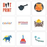 Set Of 9 simple editable icons such as upward, 1st birthday, mustang mascot. Bird nest, veterans day, caviar, bengal tiger, cannon, boot print, can be used for Stock Photography