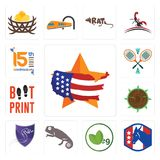 Set of us map, democratic party, veg, chameleon, viper, sawmill, boot print, badminton, 15th anniversary icons. Set Of 13 simple editable icons such as us map Royalty Free Stock Images