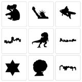 Set Of 9 simple editable icons such as utah, afro, star of david. Jamaica, t rex, montana, goldfish, statue liberty, koala, can be used for mobile, web Royalty Free Stock Image