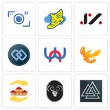 Set Of 9 simple editable icons such as valknut, ram, realtor. Phoenix, wn, double d, jz, shoe with wings, camera, can be used for mobile, web Royalty Free Stock Images
