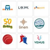 Set Of 9 simple editable icons such as venus, debate, cricket ball. Offroad, linen, 50th birthday, pinpoint, law, h house, can be used for mobile, web Stock Photos