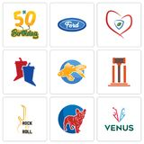 Set Of 9 simple editable icons such as venus, french bulldog, rock n roll. Legal, goldfish, debate, insurance, f, 50th birthday, can be used for mobile, web Stock Photography