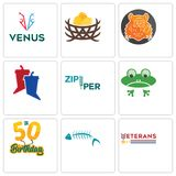 Set Of 9 simple editable icons such as veterans day, fish skeleton, 50th birthday. Frog, zipper, debate, bengal tiger, bird nest, venus, can be used for mobile Royalty Free Stock Photography