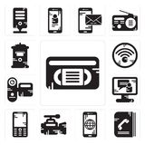 Set of Vhs, Phone book, Smartphone, Video camera, Mobile phone, call, Camcorder, Wifi, Mailbox icons. Set Of 13 simple editable icons such as Vhs, Phone book Stock Image