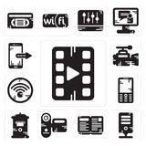Set of Video player, Server, Open book, Camcorder, Mailbox, Mobile phone, Wifi, camera, Smartphone icons. Set Of 13 simple editable icons such as Video player Stock Images
