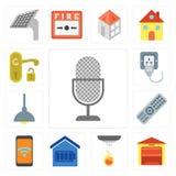 Set of Voice control, Garage, Sensor, Smart home, Mobile, Remote vector illustration