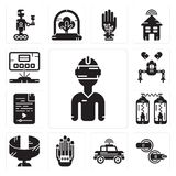 Set of Vr glasses, Teleportation, Car, Wi gloves, Panoramic view, Audio file, Robot, Hologram icons. Set Of 13 simple editable icons such as Vr glasses Stock Image