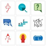 Set Of 9 simple editable icons such as vr headset, fire hydrant, ganesh. Earthquake, vocabulary, discussion board, inquiry, page turn, can be used for mobile Stock Image